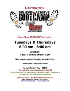 COACH ROZY HARTINGTON BOOTCAMP FALL 2016