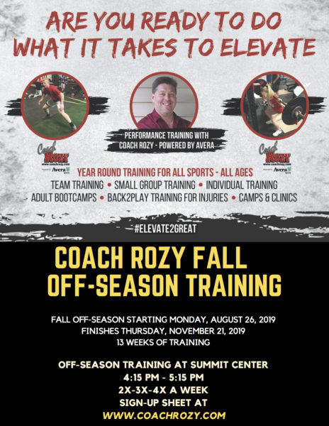 COACH ROZY FALL TRAINING – Starts Monday, August 26,  2019