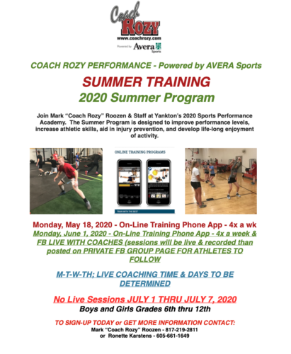 Coach Rozy Performance has Summer Training for YOU!